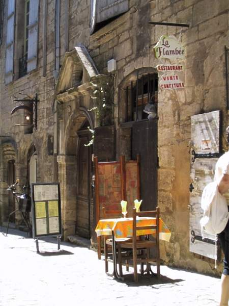 """Table for two"" was taken outside a very small restaurant in Pezenas."